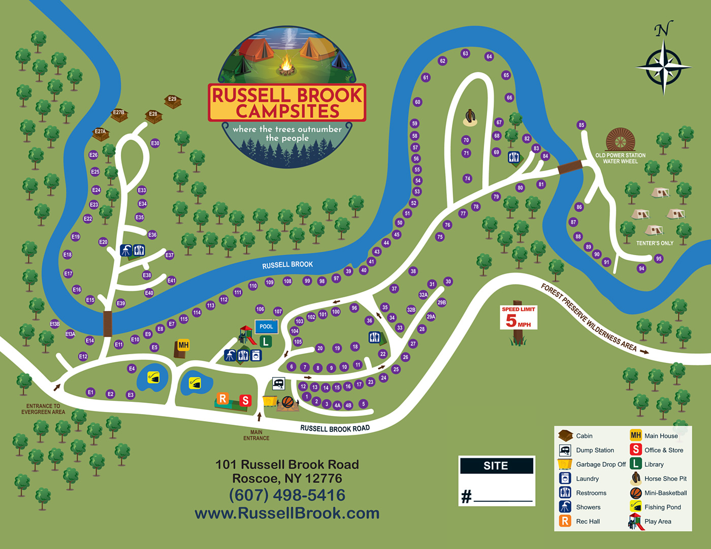Russell Brook Campsites Site Map